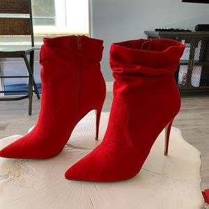 JustFab Red Ankle Booties